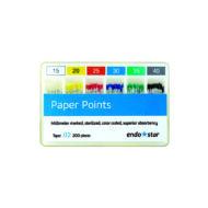 Endostar Papírcsúcs (paper points) - standard - 200db, választható méretben