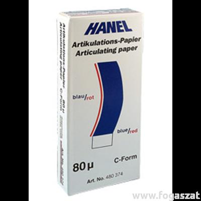 Artikulációs papír Hanel 80 mikronos C alakú piros-kék 72 lap