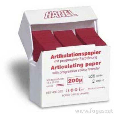Artikulációs papír Hanel 200 mikronos piros 300db