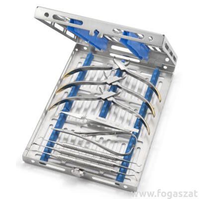 Medesy 981 műszer sterilizáló tálca 20 ortho instrumentnek, ezüst-kék, Gammafix