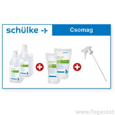Schülke csomag: 2db Mikrozid folyadék + 2db kendő (150db) +  szórófej 1db (R)